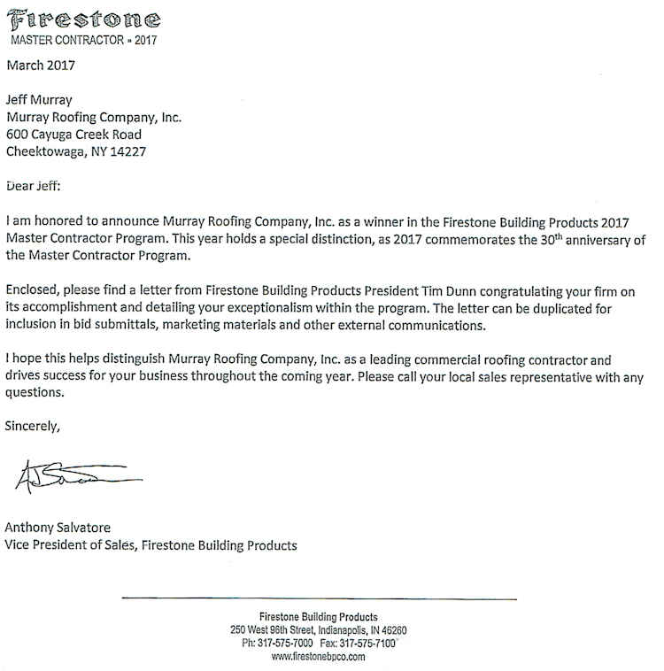 Firestone Building Products Cover Letter